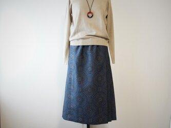 着物リメイク 紬の脇プリーツスカートの画像