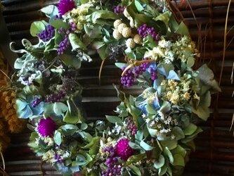 紫陽花のナチュラルドライフラワーリース!Atelier Kouanの画像