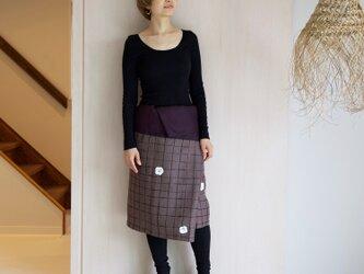 リネン・サロンスカート 格子に椿の画像