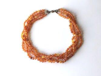 秋色の4連ネックレス  琥珀色 /アクリルビーズの画像