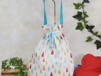 雫《drop》のワンハンドルバッグ・大 (着替え袋・体操着袋):水色の画像