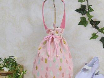 雫《drop》のワンハンドルバッグ・中 (上靴袋):ピンクの画像