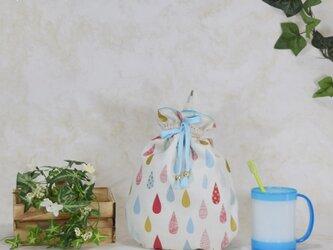 雫《drop》のぷっくり巾着:水色の画像