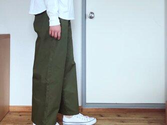 【受注生産】コットンストレートワイドパンツ  カーキの画像