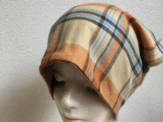 秋冬帽子 北欧風カラーのコットン 中厚地の画像