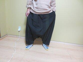 着物リメイク☆黒地の紬でおしゃれサルエルパンツ♪カジュアルモダンですの画像