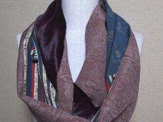 着物リメイク 3重巻き出来るベルベット×ウール×正絹からロングスヌードの画像