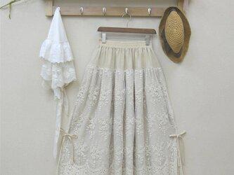 ベージュ レディース  レース 綿麻 スカートの画像