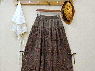 レディース  レース 綿麻 スカート  コーヒー色の画像