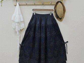 ブラック レディース レース 綿麻 スカートの画像