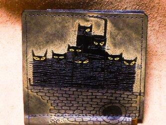 catwalk oikawaアートレザークラフト money bill clip 札ハサミ財布 ネコ一族の画像