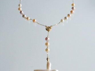 パールY字ネックレス rosary 色:マルチカラーの画像
