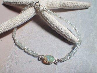 ☆10月誕生石☆オパールOpal&Aquamarine Bracelet*sv925*の画像