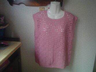 棉糸で編んだ、透かし編み乃べすと。の画像