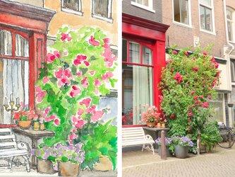 ハガキサイズでの建物の水彩スケッチ。あなたのお家の好きな部分を描きます。要連絡で人物も対応いたします。の画像