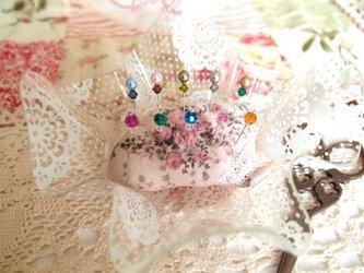 ◆◇ガラス飾りの待ち針10本セット(スワロフスキーセット)◇◆の画像