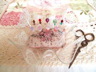 ◆◇ガラス飾りの待ち針10本セット(薔薇玉・スワロフスキー)◇◆の画像