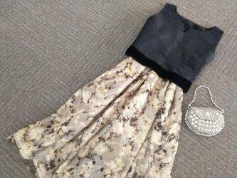 ★ゴージャス!花のチュール★シャンタンのトップス+スカート★受注製作★の画像
