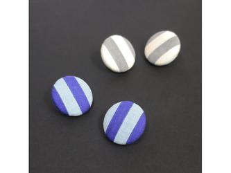 2色から選ぶ[両耳用イヤリング]ストライプ/E-9_L_BL&GYの画像