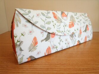 【受注制作】メガネケース(231)小鳥×オレンジリネンの画像