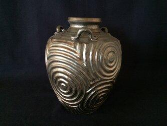黒金彩鎬広口花器1水紋の画像