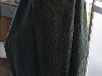 リメイク大島と正絹無地のチュニックワンピースの画像