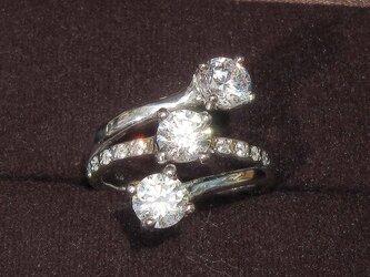 6.0mmキュービック・ジルコニアとSV925の指輪(リング:16号、ロジウムの厚メッキ)の画像
