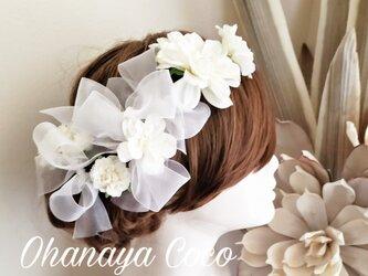 whiteヘッドドレス オーガンジーリボンの10点Set No621の画像