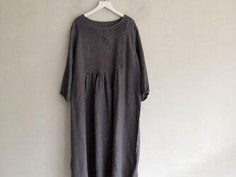オルガン プリーツ  リネン ドレス  グレーの画像