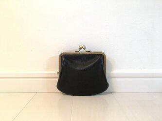 上質牛革  miniがま口財布◆黒ポッケなしの画像