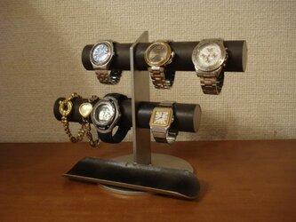 アクセサリー 飾る インテリア ディスプレイ ブラック6本掛け腕時計スタンド ロングトレイタイプの画像