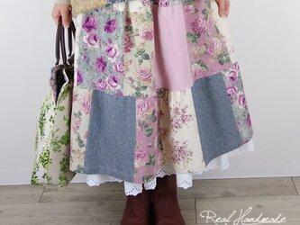 リネンパッチティアードスカート☆ピンクの画像