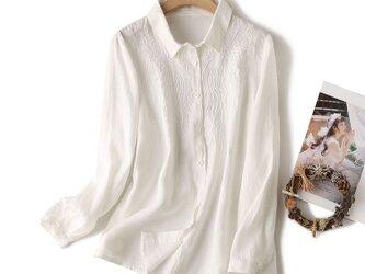 通勤  刺繍! リネン トップス・ブラウス  长袖  ホワイトの画像