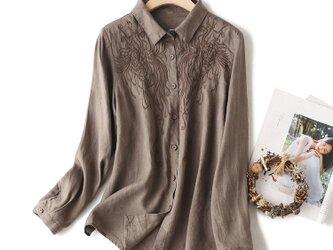 通勤  刺繍  长袖 リネン トップス・ブラウス  コーヒー色の画像