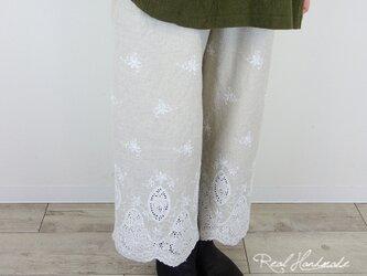 [予約販売] リネンスカラップ刺繍半端丈パンツの画像