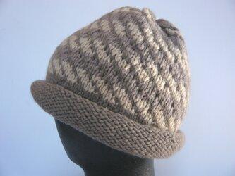 草木染毛糸の手編み帽子 AD-245の画像