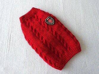 エンブレムセーター「赤」犬のセーターの画像