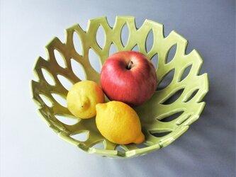 フルーツボウル 菓子鉢(グリーン)Fruits bowl (green) 陶磁器製 の画像