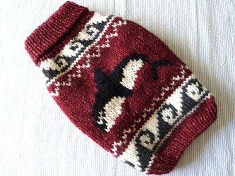 カウチンセーターシャチ「えんじ」犬のセーターの画像