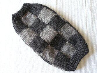 チェッカーセーター「グレー」犬のセーターの画像