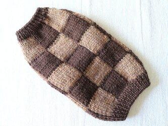チェッカーセーター「ブラウン」犬のセーターの画像