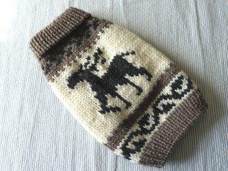 カウチンセータートナカイ「淡グレー」犬のセーターの画像