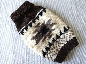 カウチンセーターオルテガ「こげ茶」犬のセーターの画像