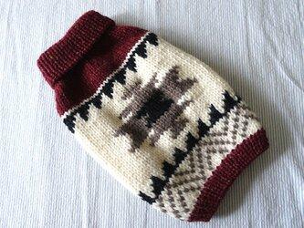 カウチンセーターオルテガ「えんじ」犬のセーターの画像