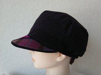 魅せる帽子☆ベロアのリバーシブルキャスケット~ブラック&ボルドーの画像