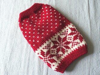 雪模様のセーターМS「赤」犬のセーターの画像