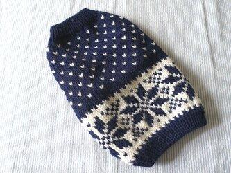 雪模様のセーターМS「ネービー」犬のセーターの画像