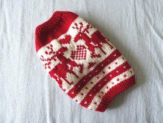 トナカイのセーターМS「赤」犬のセーターの画像
