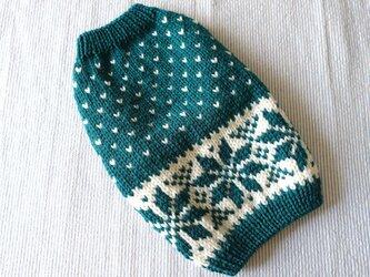 雪模様のセーターМ「ブルーグリーン」犬のセーターの画像