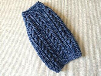 ケーブル編みのセーター「ブルー」犬のセーターの画像